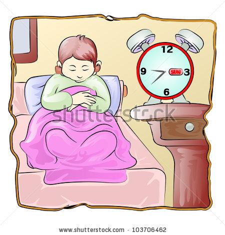 Boy Sleeping Late Wake Sun Day Stock Vector 103706462.