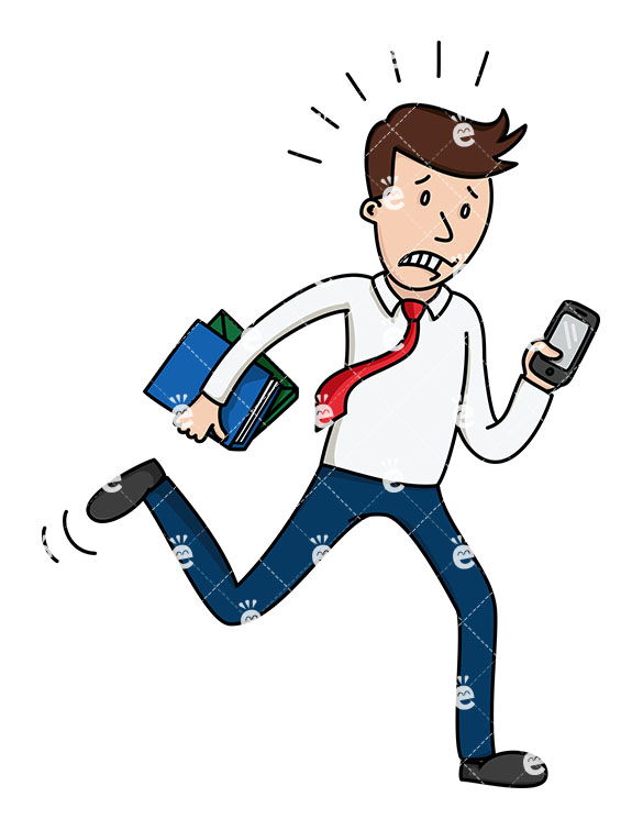 A Man Running With Books In One Hand While Looking At His Phone.