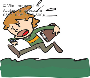 Cartoon Clip Art Illustration of a Boy Who Is Late for School.