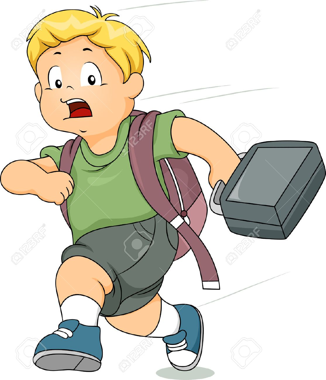 Illustration Of A Kid Boy Running Late For School Stock.
