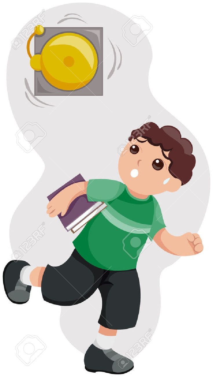 Kid Late For School With Path Royalty Free Cliparts, Vectors.
