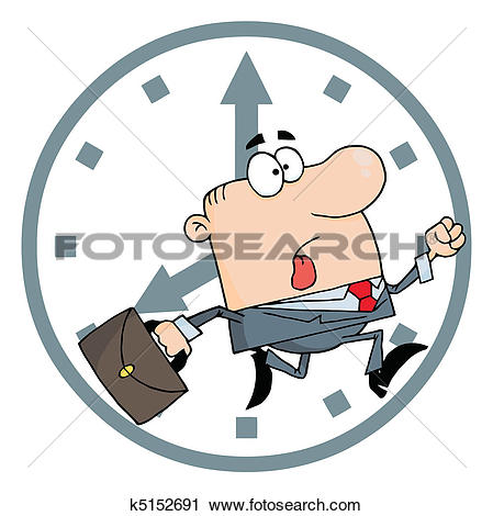 Clipart of Businessman Late For Work k5152691.
