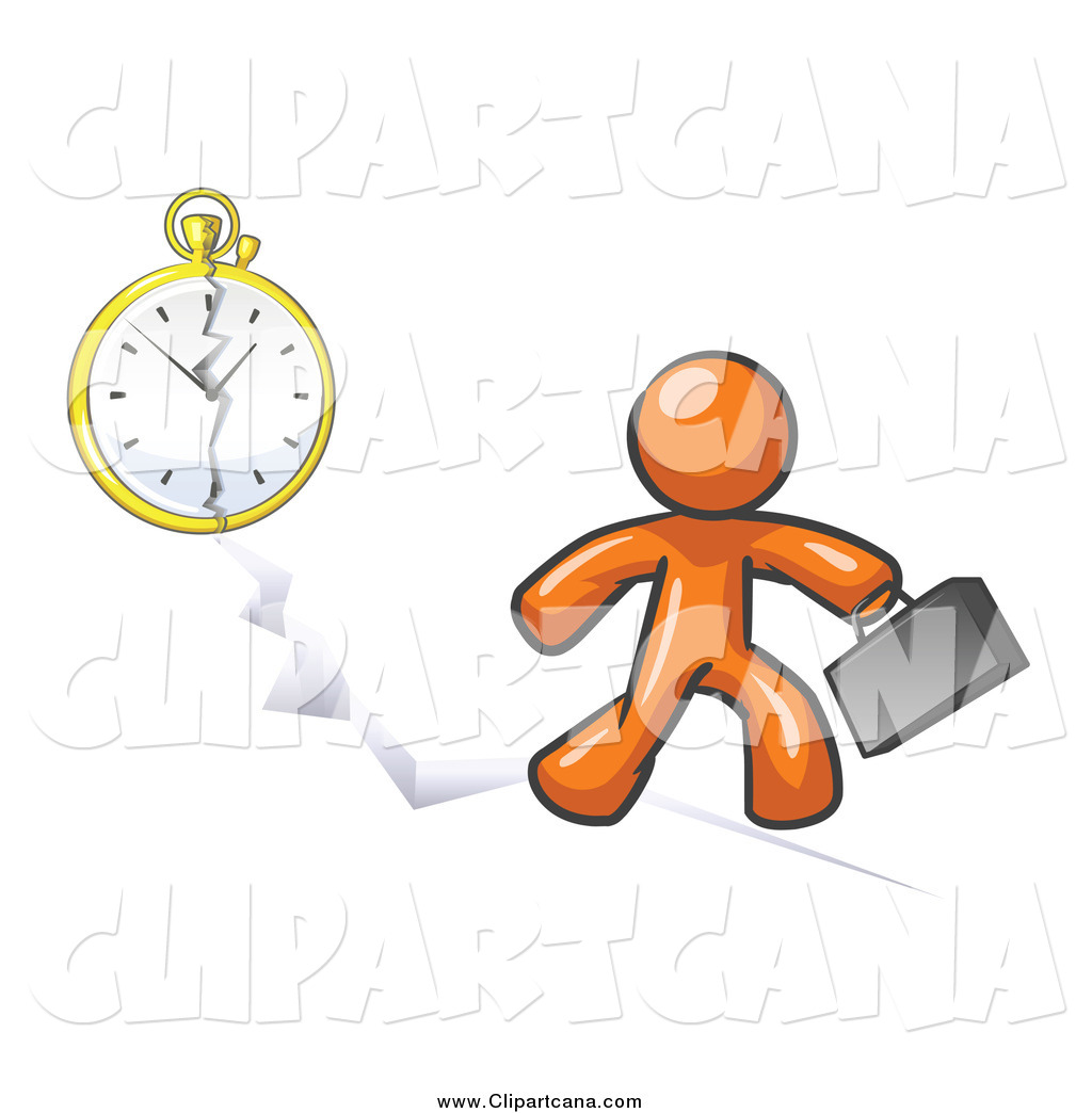 Clip Art of a Orange Man Running Late for Work over a Crack with a.