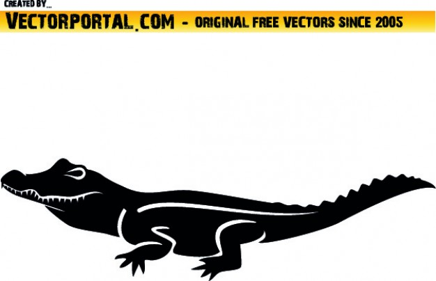 Lateral croc clipart Vector.
