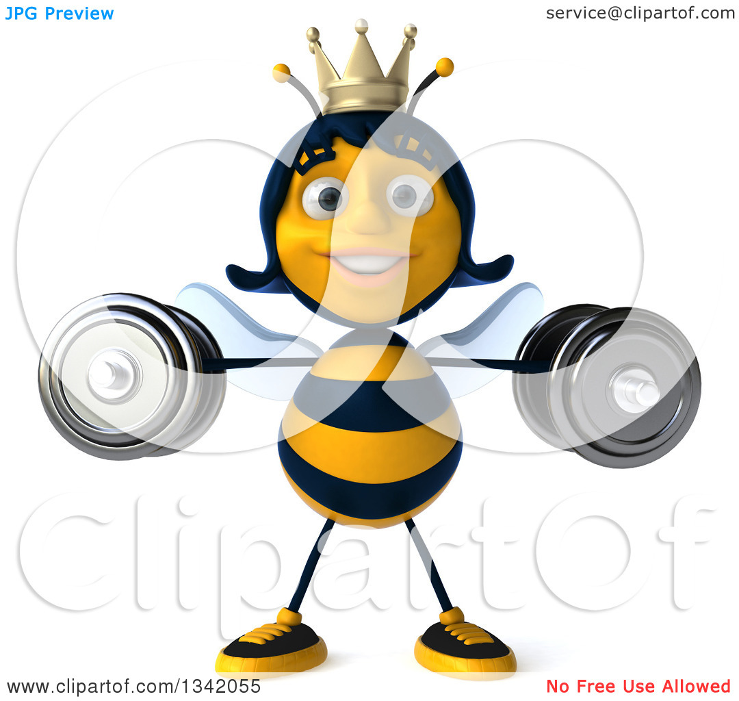 Clipart of a 3d Happy Queen Bee Working Out, Doing Lateral Raises.