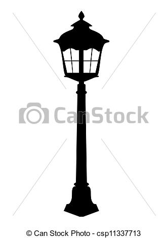 Vector Clip Art of Old lantern silhouette vector illustration. EPS.