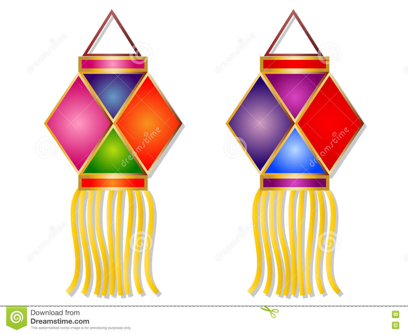 Cartoon lanterns clipart.