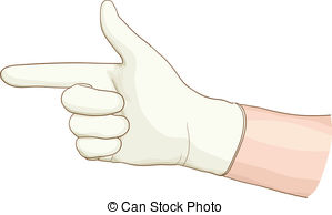 Vector Clipart of The doctor wears sterile latex gloves. Vector.