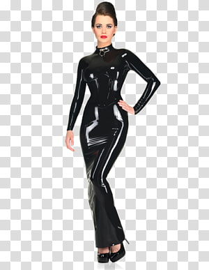 Costume Latex clothing French maid Dress, dress transparent.