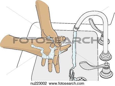 Clip Art of Two hands covered in soap lather rub together over.