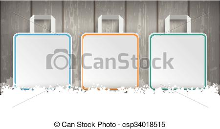 Vector Clip Art of Wooden Laths Winter Sale 3 Shopping Bags.