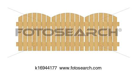 Clip Art of round fence created from wooden laths on white.