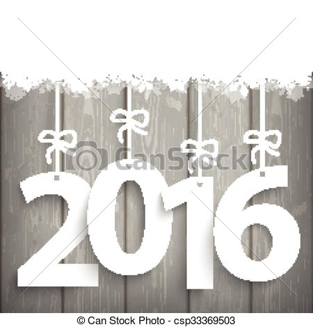 Vector Clipart of Snow Wood Laths 2016.