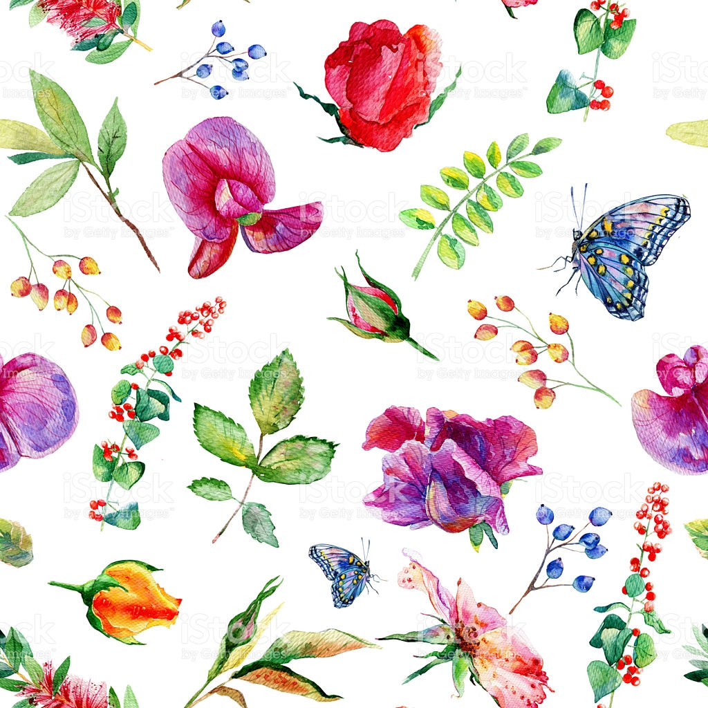 Seamless Pattern With Pink Sweet Pea Lathyrus Odoratus Leaves.