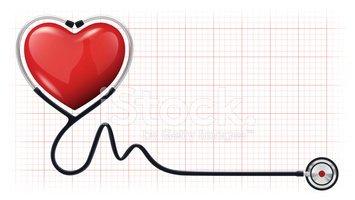 Latido DE Corazón 3d Plantilla Cardiograma Estetoscopio.
