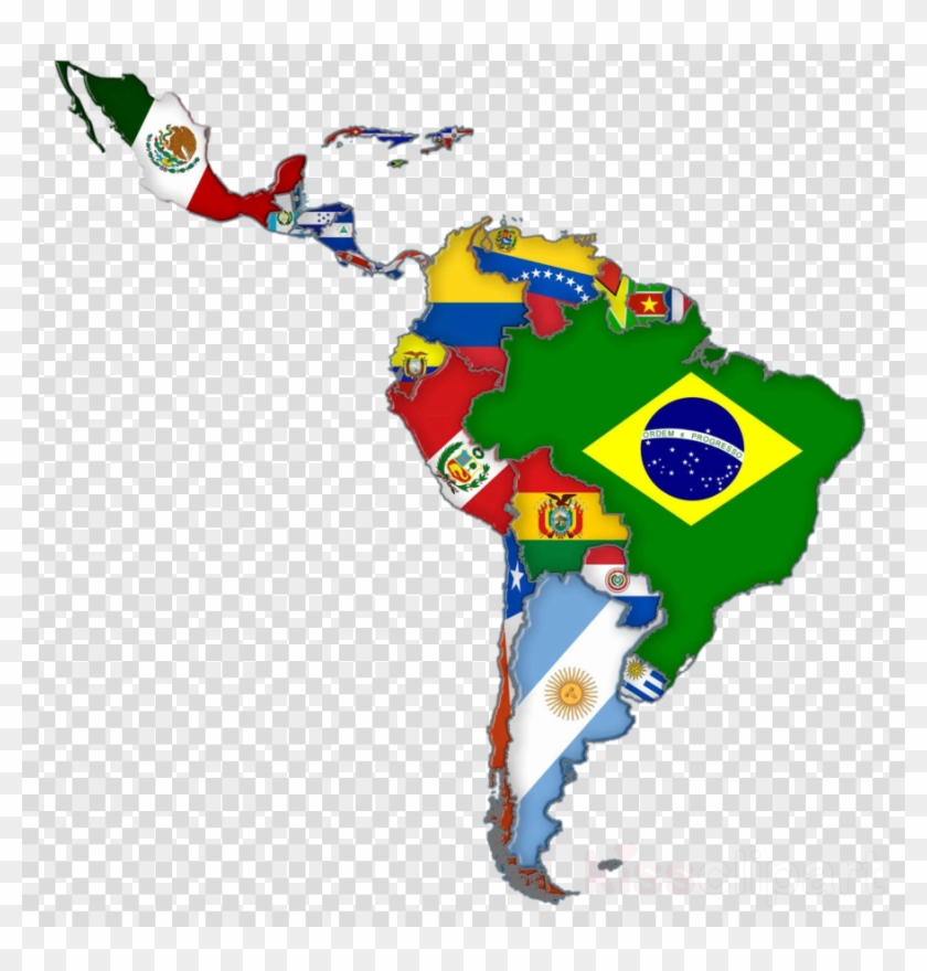 Latin America Map Flags Clipart Flags Of South America.