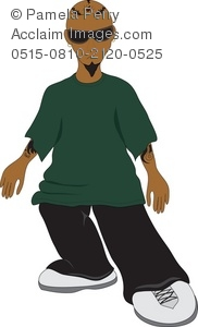 Clip Art Illustration of Latino Hip Hop Kid with Baggy Clothes.