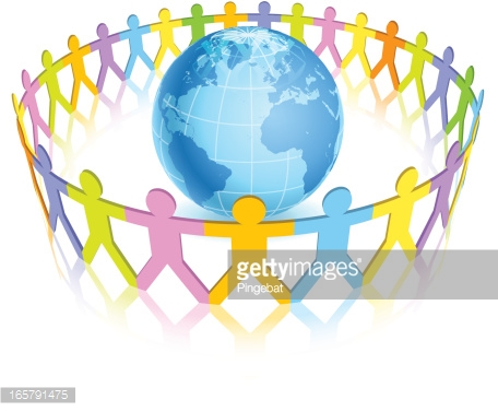 Circle Of Colorful People Around The World Vector Art.