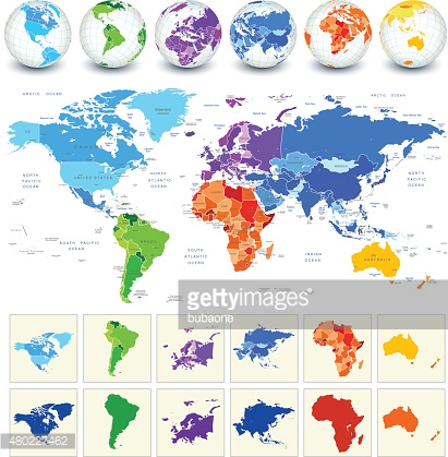 World Map Detailed Geography In Full Color Vector Art.