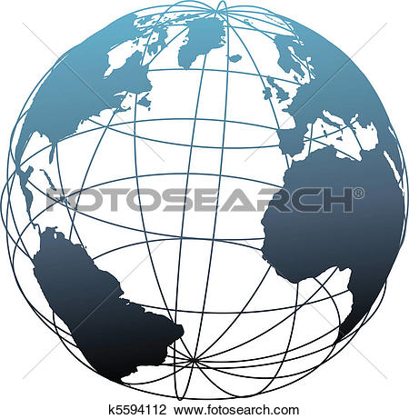 Clipart of Globe symbol Earth latitude longitude 3D map on black.