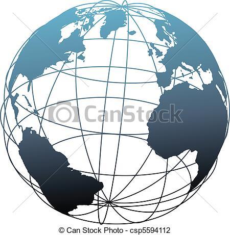 Vector Illustration of Global wireframe latitude Atlantic Earth.