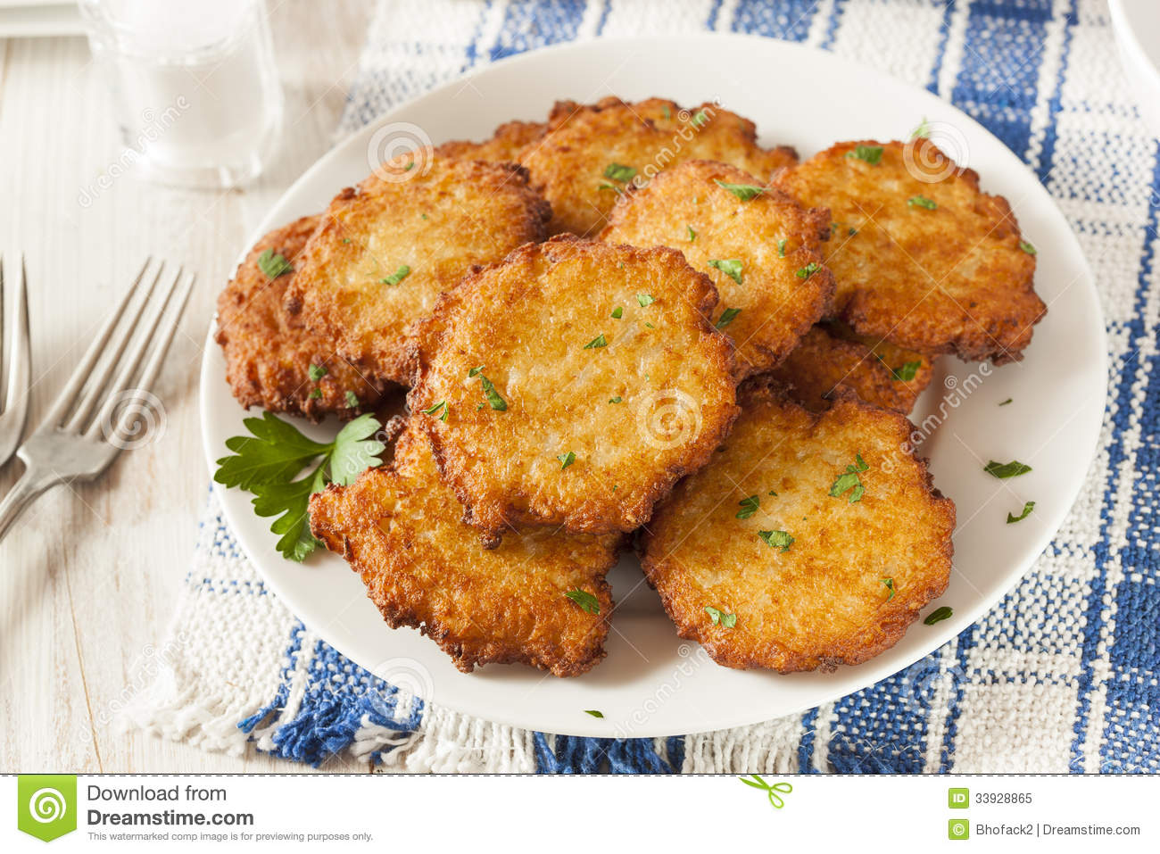 Homemade Traditional Potato Pancake Latke Royalty Free Stock Photo.