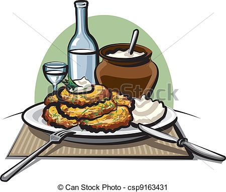 Vector Clip Art of Potato pancakes with sour cream and vodka.