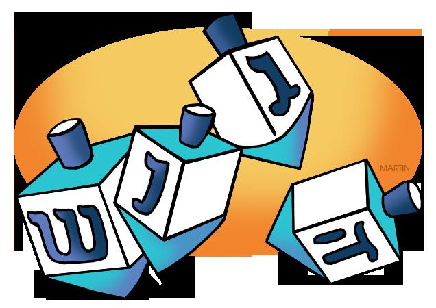 Free Hanukkah Clip Art by Phillip Martin, Dreidels.