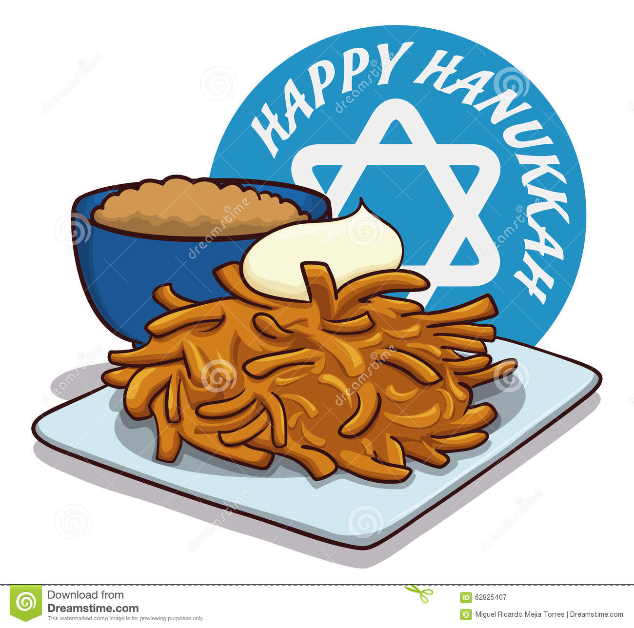 Potato Latkes Hanukkah Stock Illustrations.