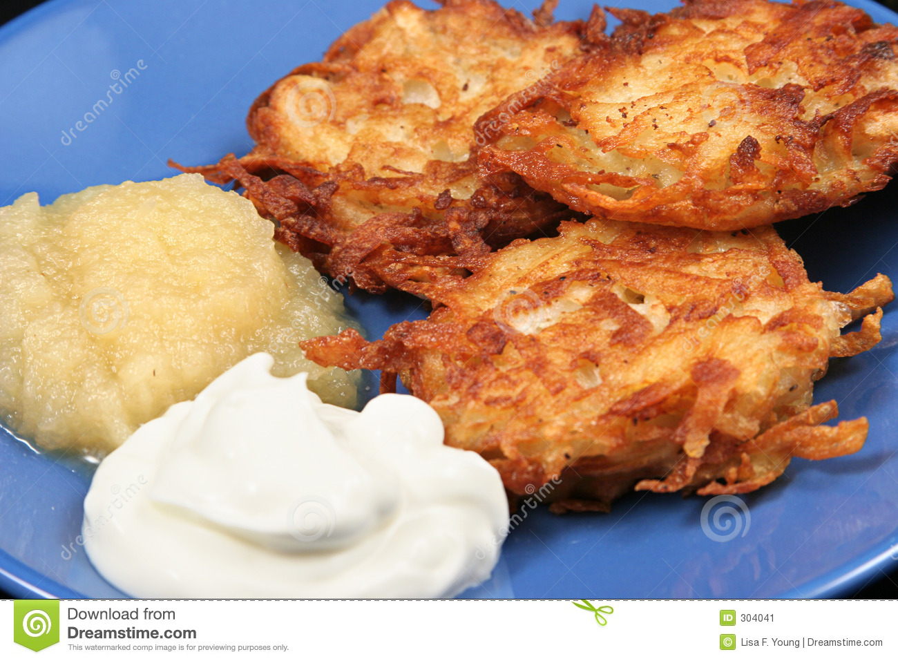 Potato Latkes Closeup Stock Image.