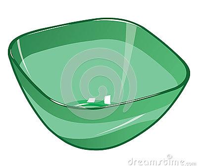 Grüne Plastiksalatschüssel Vektor Abbildung.
