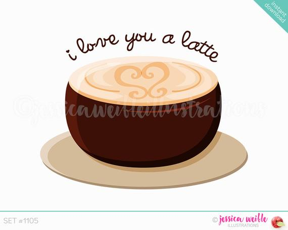 Instant Download Cute I love You a Latte Digital Clipart.