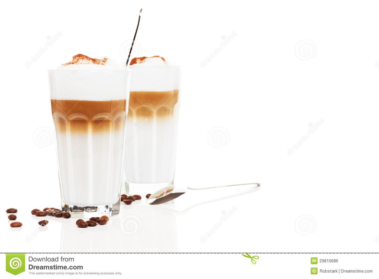 Chocolate On The Glass Of Latte Macchiato Stock Image.