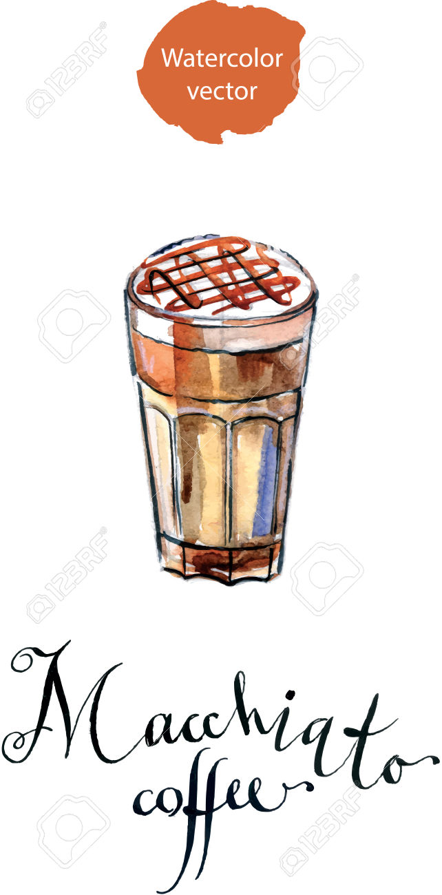 Coffee Latte Macchiato With Caramel In A Tall Glass, Watercolor.