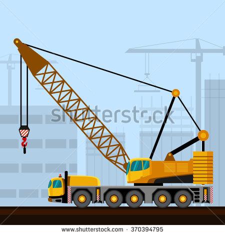Crawler Lattice Boom Crane Construction Background Stock Vector.