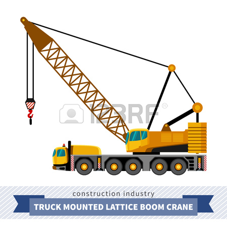 Truck Mounted Lattice Boom. Side View Mobile Crane Isolated Vector.