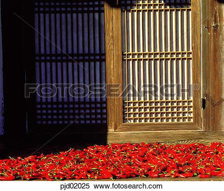 Stock Image of door, floor, lattice, hot pepper, red pepper.
