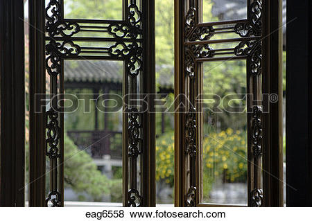Pictures of Lattice wooden windows at the Tea house in the.
