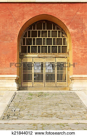 Stock Photo of traditional Chinese style wooden lattice Windows.