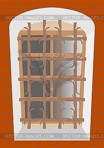 lattice on an old window.
