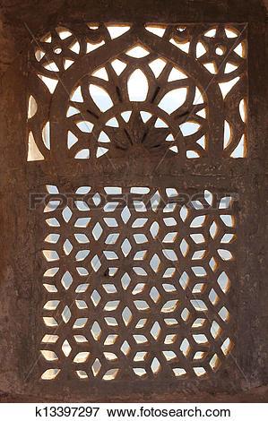 Picture of ornament lattice window in india k13397297.