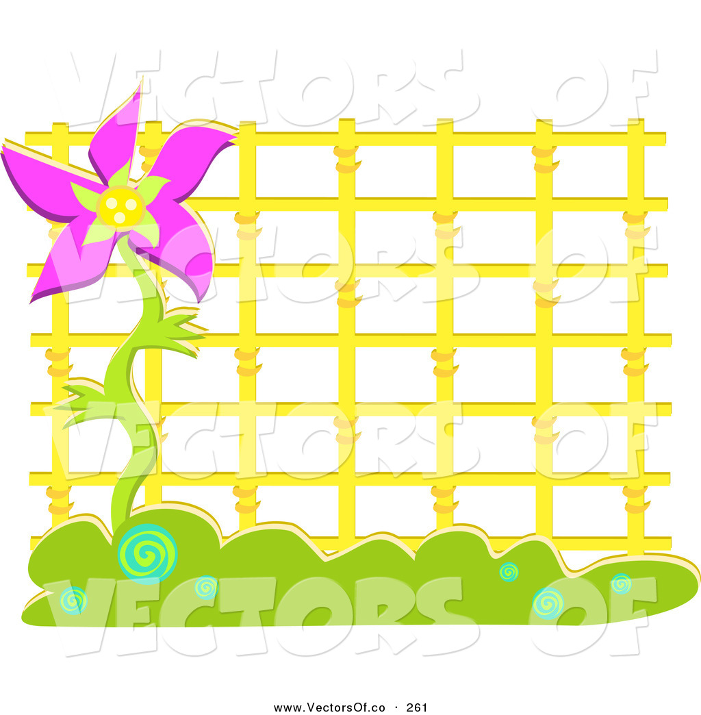 Vector of Yellow Latticework and Purple Flower Frame by bpearth.