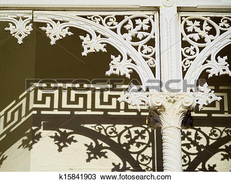 Drawing of nice shadows of victorian lattice work k15841903.