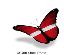 Drawing of Latvian flag butterfly flying, isolated on white.