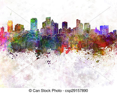 Stock Illustration of Fort Lauderdale FL skyline in watercolor.