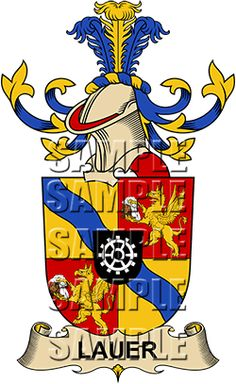 Lauer Coat of Arms / Lauer Family Crest.