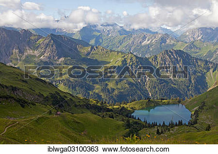"Stock Photo of ""Seealpsee lake with Nebelhorn Mountain, view from."