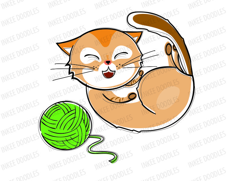 Laughing Cat Clip Art, hand drawn doodle sketches of cute.