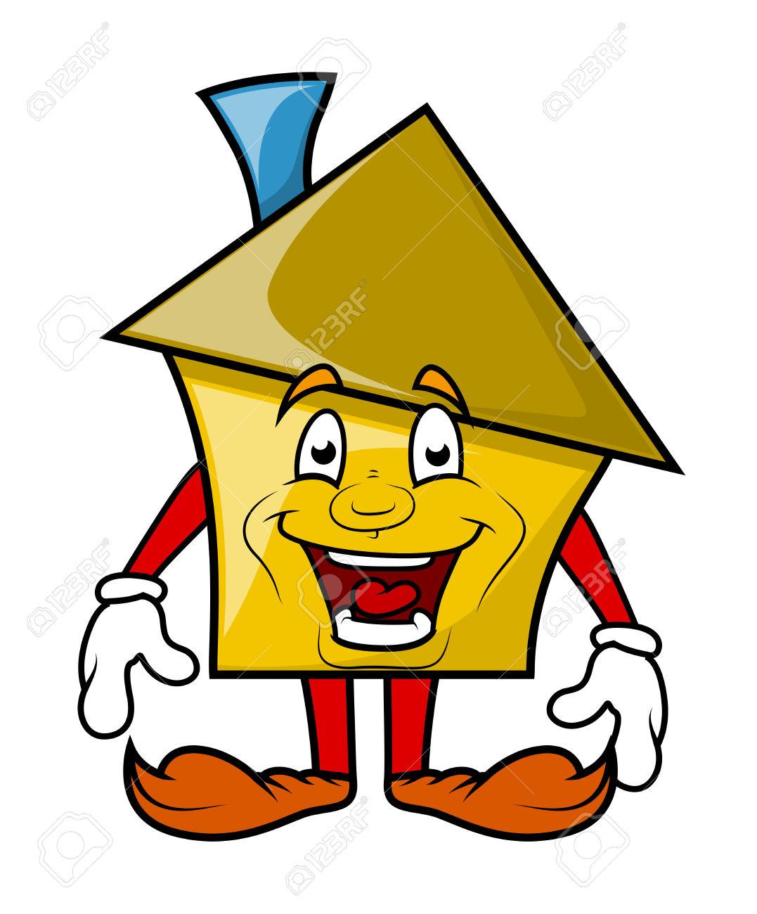 Laughing Cartoon House Character Royalty Free Cliparts, Vectors.