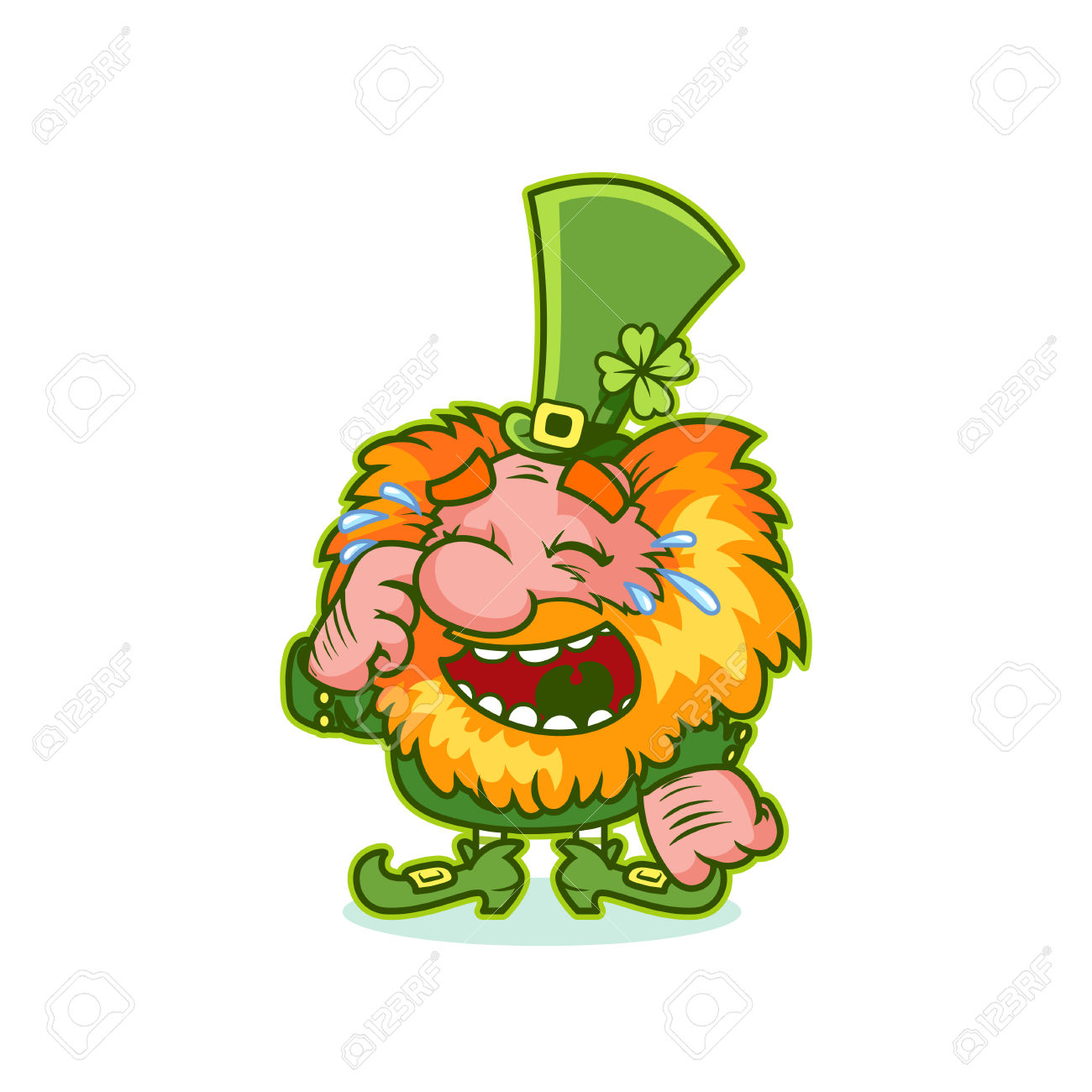Laughing Leprechaun In Green Costume. Funny Cartoon Character.